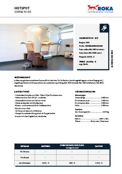 Datenblatt für Verkaufsanhänger Kaffee.