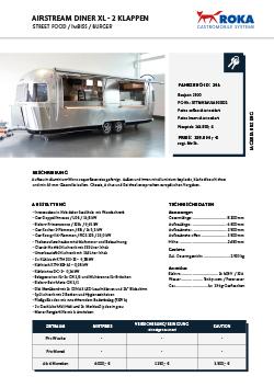 Datenblatt zum Airstream Cateringfahrzeug mieten.